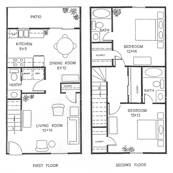 Exceptional 2 story townhouse floor plans 3 alexis town for 2 story townhouse plans